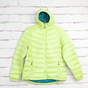 LL Bean Green Hooded Packable Down Jacket Size L